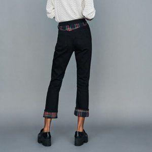 MAJE Parloeco Tartan Paneled Stretch Denim Jeans